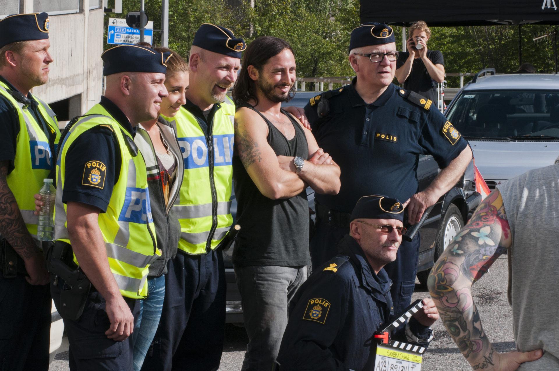 """Inspelning av """"Snabba cash 2"""" vid Skanstull på Södermalm i Stockholm."""